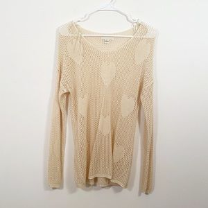 FOREVER 21 Heart Pattern Pullover Knit Sweater